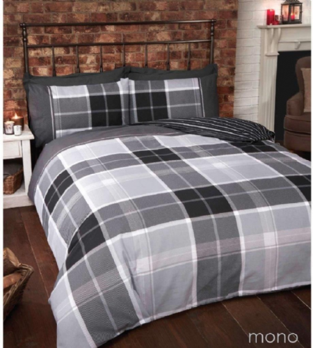 """Argyle"",Grey Tartan Check, Double ""Finest Homeware"" by Rapport"